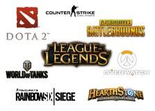 Raccolta isolata di logo della maggior parte dei video giochi con diversi giocatori popolari Immagine Stock Libera da Diritti