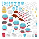 Raccolta isometrica della coltelleria degli utensili di Kithen con i coltelli, i vasi ed i vetri Immagini Stock Libere da Diritti