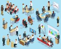 Raccolta isometrica di preparazione di affari illustrazione di stock