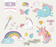 Raccolta magica sveglia con unicon, arcobaleno, fatato Immagini Stock Libere da Diritti