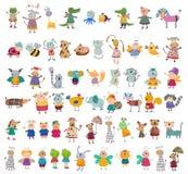 Raccolta mega dei personaggi dei cartoni animati Fotografia Stock Libera da Diritti