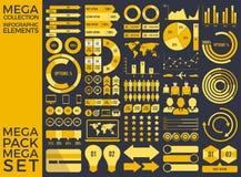 Raccolta mega e progettazione mega di vettore degli elementi di Infographic dell'insieme Fotografie Stock