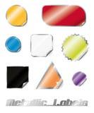 Raccolta metallica lucida degli autoadesivi Fotografia Stock