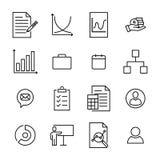 Raccolta moderna delle icone della gestione di stile del profilo Immagine Stock Libera da Diritti