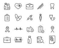 Raccolta moderna delle icone di assistenza medica di stile del profilo Fotografia Stock Libera da Diritti
