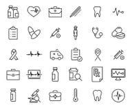 Raccolta moderna delle icone di assistenza medica di stile del profilo Fotografia Stock