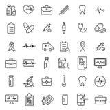 Raccolta moderna delle icone di assistenza medica di stile del profilo Fotografie Stock Libere da Diritti