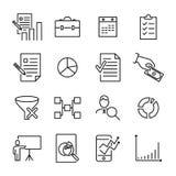 Raccolta moderna delle icone di strategia di stile del profilo Fotografie Stock Libere da Diritti