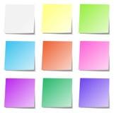 Raccolta multicolore della carta di memoria isolata Fotografia Stock
