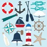 Raccolta nautica degli oggetti Fotografia Stock