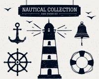 Raccolta nautica disegnata a mano Fotografia Stock Libera da Diritti