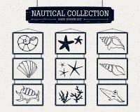 Raccolta nautica disegnata a mano delle icone nautiche Immagini Stock