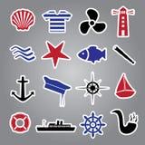 Raccolta nautica eps10 degli autoadesivi dell'icona Illustrazione di Stock
