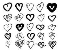 Raccolta nera dei cuori Amore disegnato a mano del cuore del grande insieme su un fondo bianco Stile romantico del fumetto di sca immagini stock