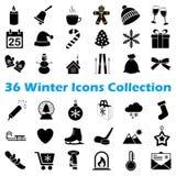 Raccolta nera dell'icona di inverno di vettore Fotografie Stock Libere da Diritti