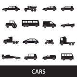Raccolta nera delle icone delle siluette delle automobili semplici Fotografie Stock