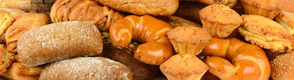 Raccolta panoramica dei prodotti del pane Immagini Stock Libere da Diritti