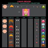 Raccolta personalizzabile degli avatar dei caratteri Immagine Stock Libera da Diritti