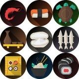 Raccolta piana alla moda delle icone per frutti di mare Immagine Stock Libera da Diritti
