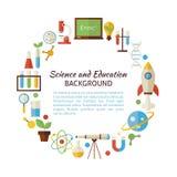 Raccolta piana del modello del cerchio di vettore di stile di scienza e di Educ illustrazione di stock