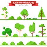 Raccolta piana della flora di verde di vettore: pianta, albero, cespuglio, erba Fotografie Stock Libere da Diritti