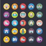 Raccolta piana delle icone delle costruzioni Fotografia Stock Libera da Diritti