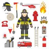 Raccolta piana delle icone dell'attrezzatura professionale del vigile del fuoco Fotografie Stock Libere da Diritti