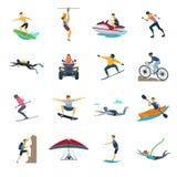 Raccolta piana delle icone di attività estreme di sport illustrazione vettoriale