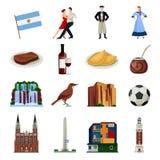Raccolta piana delle icone di simboli dell'Argentina illustrazione vettoriale