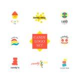 Raccolta piana di logo di vettore per il negozio della caramella ed il deposito dolce illustrazione vettoriale