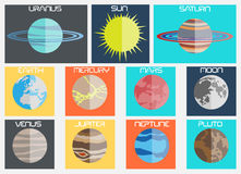 Raccolta piana di progettazione del pianeta per il web Fotografia Stock Libera da Diritti