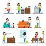 Raccolta piana di pulizia domestica Immagini Stock Libere da Diritti