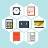 Raccolta piana di vettore delle icone degli oggetti business Fotografia Stock