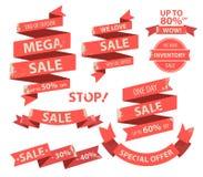 Raccolta piana rossa d'annata dell'insegna dei nastri con l'etichetta di vendita Fotografie Stock