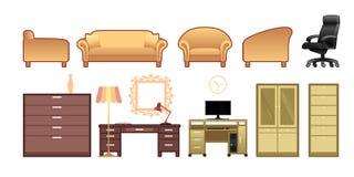 Raccolta planare della mobilia Immagine Stock Libera da Diritti