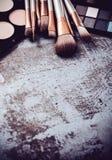 Raccolta professionale delle spazzole e degli strumenti di trucco, produc di trucco Fotografia Stock Libera da Diritti