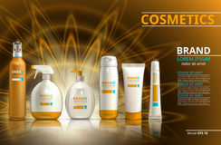 Raccolta realistica dell'insieme di prodotto di protezione di Sun Le bottiglie cosmetiche con l'etichetta di logo progettano su u illustrazione di stock