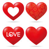 Raccolta rossa adorabile del cuore di vettore Fotografie Stock