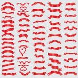 Raccolta rossa dei nastri Valentino con il simbolo bianco su fondo strutturato blu royalty illustrazione gratis
