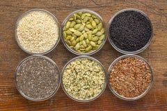 Raccolta sana del seme in ciotole di vetro Immagine Stock Libera da Diritti