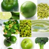 Raccolta sana verde del collage dell'alimento Fotografia Stock