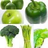 Raccolta sana verde del collage dell'alimento Fotografie Stock