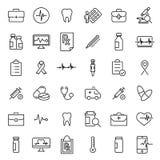 Raccolta semplice della linea relativa icone di assistenza medica royalty illustrazione gratis