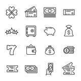 Raccolta semplice della linea relativa icone di lotteria Immagini Stock
