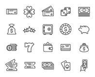 Raccolta semplice della linea relativa icone di lotteria Fotografia Stock