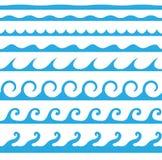 Raccolta senza cuciture blu dell'icona dell'onda isolata su fondo Fotografia Stock