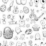 Raccolta senza cuciture di Pasqua del modello Disegnato a mano Immagine Stock Libera da Diritti