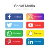 Raccolta sociale popolare di logo di media illustrazione di stock