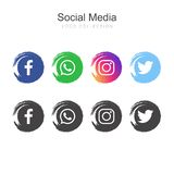 Raccolta sociale popolare di logo di media royalty illustrazione gratis