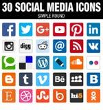 Raccolta sociale quadrata delle icone di media con gli angoli arrotondati Fotografia Stock Libera da Diritti